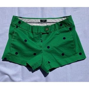 J Crew City Fit Green Blue Polka Dots Shorts SZ 4